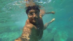 underwater travel selfie