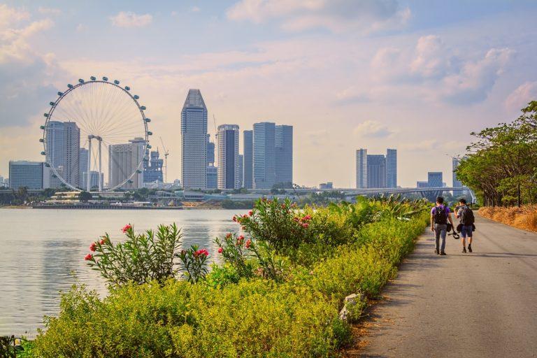 Tourists walking Singapore