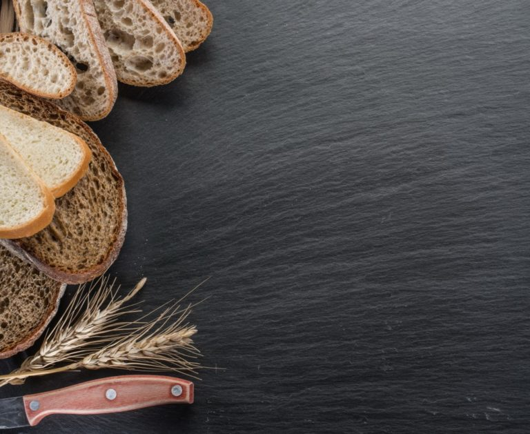 Wheat bread and a knife