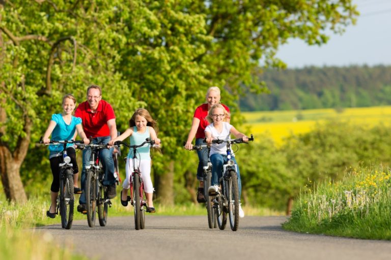 family riding a bicycle