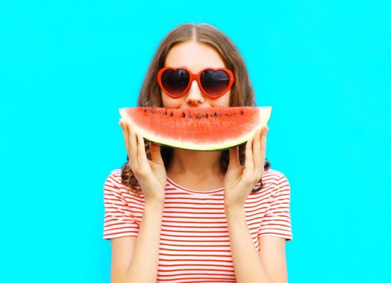 girl eating a watermelon
